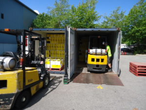 Shipping container unloading
